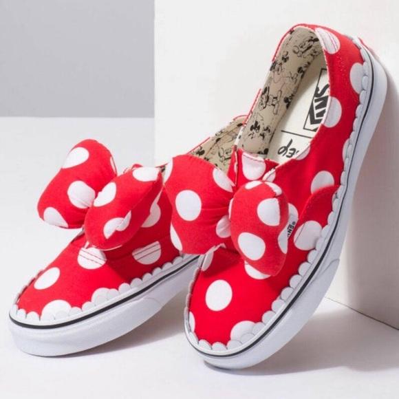 e68f7e05ad Disney Minnie Mouse bow tie Vans women size 6.5
